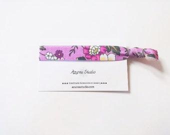 Floral Purple Hair Tie or Bracelet