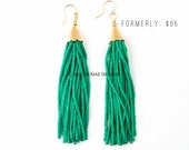 Emerald Marble Beaded Tassel Earrings   Long Tassel Earrings   Bohemian Statement Earrings    Green Earrings   Tassel Earrings