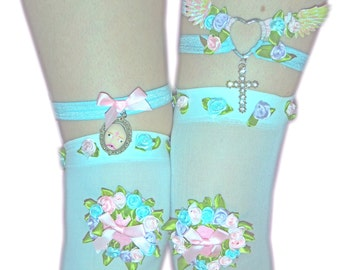 WHITE Thigh High / Knee High / Stockings - Baby Pink, Baby blue, lilac roses, White Over the Knee, kawaii,