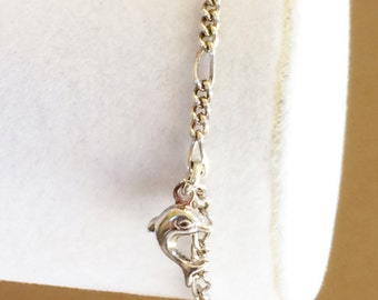"""Sterling Silver Dolphin And Glass Ball Bracelet 6 3/4"""" Smaller Wrist"""