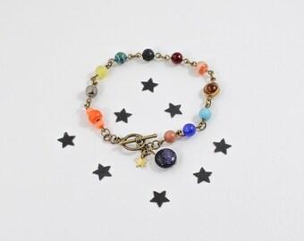 Solar System Bracelet, Beaded Planet Bracelet, Cosmic Bracelet, Astrology Bracelet, Astronomy Bracelet, Teachers Gift, For Student