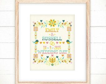 Wedding cross stitch pattern , Happy Floral Wedding Keepsake , Love Birds Wedding Announcement , modern cross stitch , flowers cross stitch