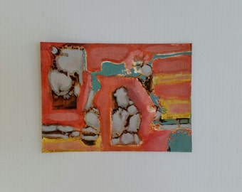 "Small original oil painting/ ""Rocks in the Red River""/abstract/ recycled support of cereal box/ 5x7 inches"