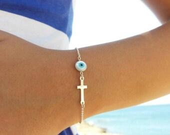 Evil  bracelet cross, 925 Sterling Silver sideways cross & evil eye, dainty evil eye bracelet, best friend gift,gift for her