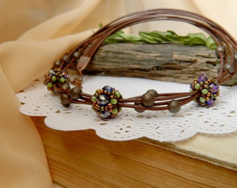 Leather necklace Unique Brown necklace Brown choker European style necklace Leather Choker Everyday necklace Gift for women Boho jewelry