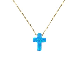 Opal Cross Pendant Gold Plated Sterling Silver Necklace. Cross necklace