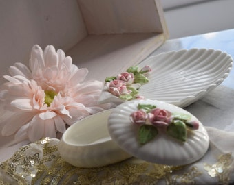 Vintage Porcelain shell shaped floral trinket plate & matching trinket dish with lid, teacher's Christmas gift, dressing table, wedding gift