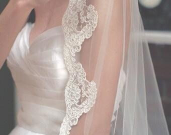 Wedding Veil, Lace Veil, Veil, Wedding Lace Veil, Bridal Veil, Bridal Lace Veil, Fingertip Lace Veil, Ivory Lace Veil, Lace