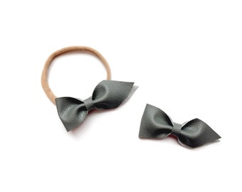 Faux Leather Bow- Grey