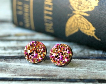Rose Gold Druzy Earrings . Galentines Day Gift . Valentines Day Gift . Best Friend Birthday Gift . Druzy Stud Earrings Surgical Steel Studs