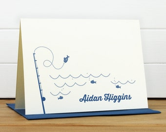 Personalized Stationery Set / Personalized Stationary Set - GO FISH Custom Personalized Note Card Set - Masculine Child Fishing