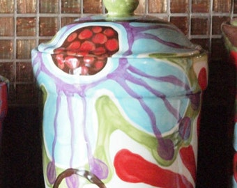 Canister Kitchen Canister Ceramic Canister Boho Kitchen Decor Urban Fusion Large Canister Pottery Baker Gift Sugar Canister Cookie Jar UF