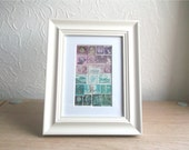 Framed Postage Stamp Wall Art, Purple Blue Recycled Collage, Upcycled Philately Snail Mail Gift, Eclectic Boho Bohemian Vintage Travel Gift