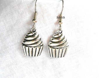 Antiqued Style Cupcake Earrings