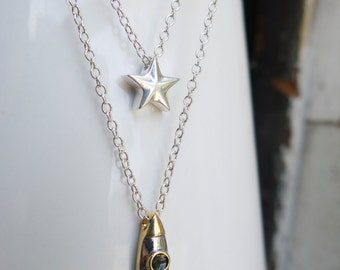 Constellation Celestial Minimal Necklace Mixed Metal Birthday Gift Layering Rocket Ship Star Geekery Layered Science 18kt Gold Plated Silver