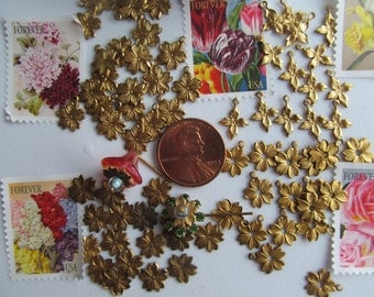 40 Vintage  Tiny Brass Flower In Four Styles
