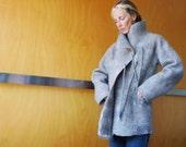 Beige winter coat / jacket, size XS/S, felted wool, natural designer clothing, eco friendly clothing, funky women's clothing