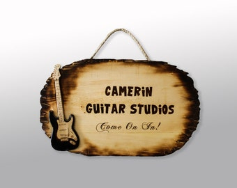 Pyrography Art Guitar Signs, Custom Sign, Wood Burning, Wall Hanging, Wood Burned Art Guitar picture, personalized sign, musical instruments