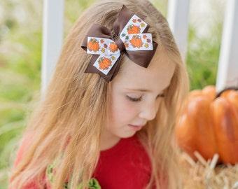 Girls Thanksgiving Bow - Baby Girl Thanksgiving Bow - First Thanksgiving Bow - First Turkey Day Bow - Baby Girl Thanksgiving - Pumpkin Bow