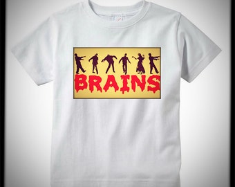 "KIDS SHIRT *Zombies* - ""BRAINS"". Cool Hip Edgy Baby Clothes, Shop Section ""Baby Clothes"" for Selection. Onesies & Children's Tees Available"