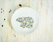 Hand painted porcelain plate - wildflower bear
