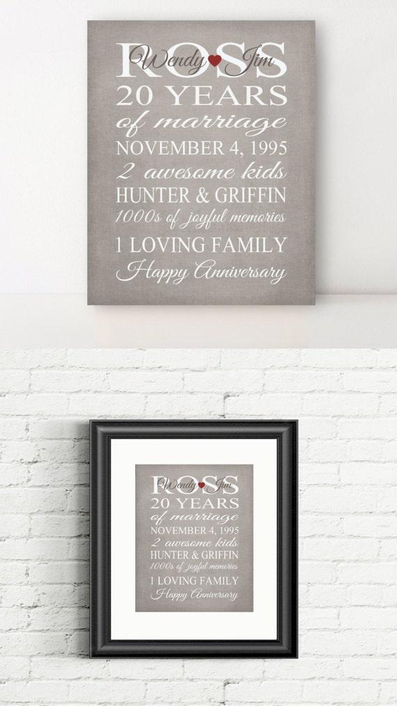 20 Year Anniversary Gift Print Wedding 25th Anniversary Personalized ...