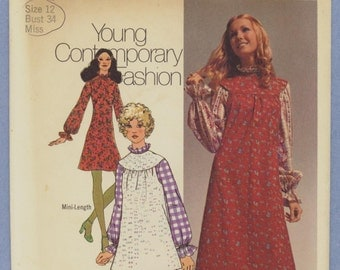 1971 Misses' Ruffle Neckline Dress and Smock in Two Lengths...Young Contemporary Fashion Size 12 - Vintage Simplicity Sewing Pattern 9706