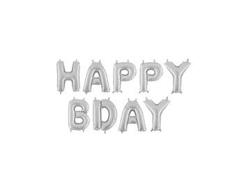 Silver Happy Bday Letter Balloons, Silver Happy Birthday Balloons, Silver Birthday Balloons, Silver Letter Balloons, Silver Party Balloons