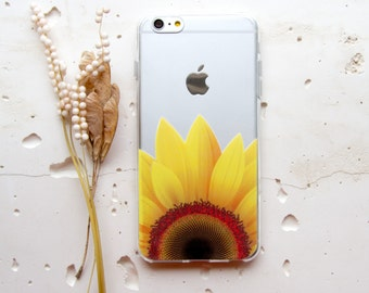 iPhone 6 Case iPhone 6s Plus Case Floral iPhone SE Case iPhone X Flower iPhone 8 Plus Case for Samsung Galaxy S6 Clear Case Sunflower WC1160