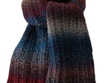 Hand Knit Scarf - Teal Grey Burgundy Tweed Trail Ridge Rib Wool