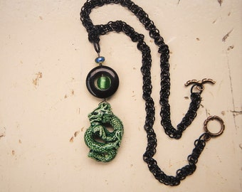 Fantasy necklace Green dragon jewelry Gargoyle pendant Goth necklace Fantasy jewelry Chinese dragon Sea dragon Magical jewelry