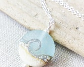 Beach Necklace, Lampwork Sea Glass Wave Necklace, Ocean Jewelry, Beach Jewelry, Beach Wedding, Gift For Her, JBMDesigns, Bridesmaid Gifts