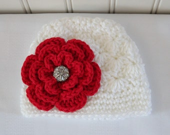 Baby Hat - Crochet Hat - Girls Hat - Toddler Hat - Newborn Hat - Baby Girl Hat - White Hat with Red Flower - sizes Newborn to 3 Years