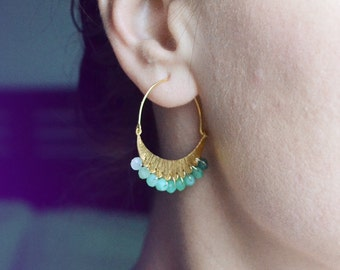chrysoprase hoop earrings /// moon crescent earrings adorned with ombre gemstones /// the LUNA earrings