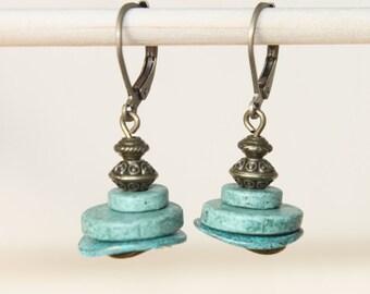 Green Earrings Ceramic Earrings Dangle Brass Earrings Boho Chic Earrings Boho Jewelry Gift Ideas SMALL EARRINGS Spring