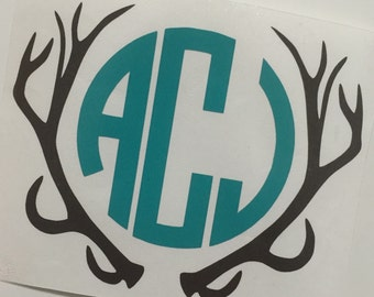 Personalized Deer Antler Decal