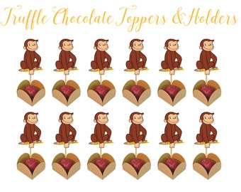 CURIOUS GEORGE TRUFFLE Holders,  Curious George Party and Paper Supplies, Curious George Cupcake Toppers, Curious George Holders, Forminhas,