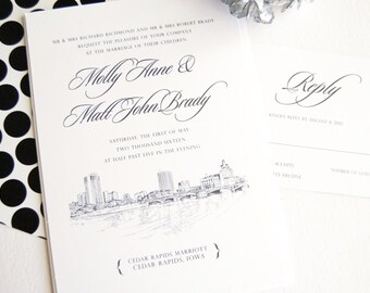Cedar Rapids Wedding Invitation Package (Sold in Sets of 10 Invitations, RSVP Cards + Envelopes)