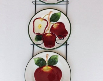 Vintage Apple Plates Wall Decor with Decorative Hanger Set of 3