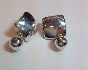 Sterling Silver Silpada Square With Ball Dangle Pierced Earrings