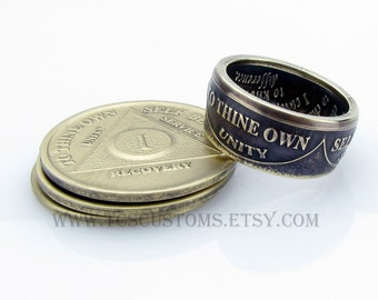 AA Sobriety Anniversary Coin Ring, Bronze, Coin Jewelry, Unique Rings, Mens, Band, Rings