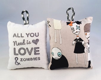 All you need is love & zombies - hand printed lavender bag