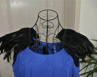 Handmade Black rooster feather epaulette pads Carnival feather shoulder shrug burning man festival epaulettes