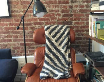 Crocheted Diagonal Throw Blanket