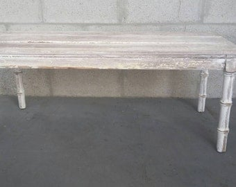 Faux Bamboo White Shabby Chic Coffee Table,