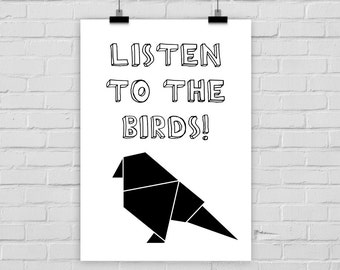 fine-art print poster LISTEN TO the BIRDS origami