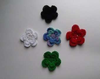 Crochet flower embellishments, set of 5