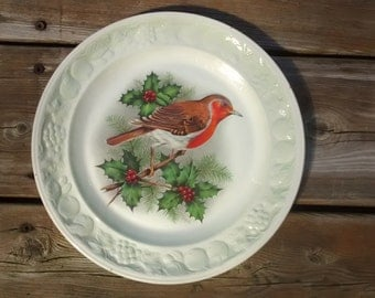Vintage Royal Worcester  Pallisy Red Bird on Holly Plate