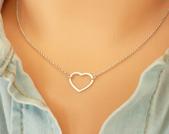 Sterling Silver Heart Necklace,  Tiny Heart Necklace, Dainty Necklace, Thin Chain Necklace, Minimalist Necklace