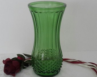 Green Hoosier Vase, Emerald Green Glass Vase, Home Decor, Hoosier Vase, Gift Giving